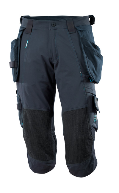 MASCOT® ADVANCED - dark navy - ¾ Length Trousers with Dyneema® kneepad pockets and with detachable holster pockets, four-way stretch, lightweight