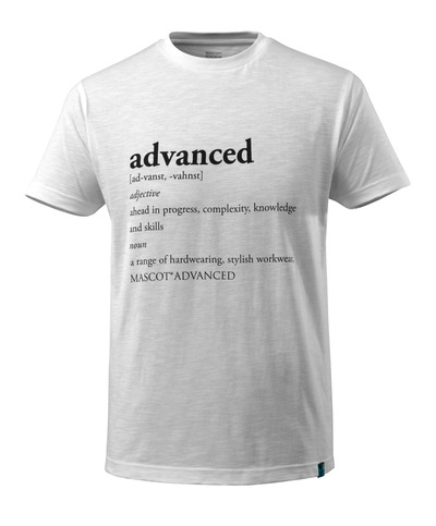 MASCOT® ADVANCED - white - T-shirt with ADVANCED text, modern fit