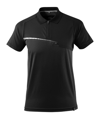 MASCOT® ADVANCED - black - Polo Shirt with chest pocket, moisture wicking, modern fit