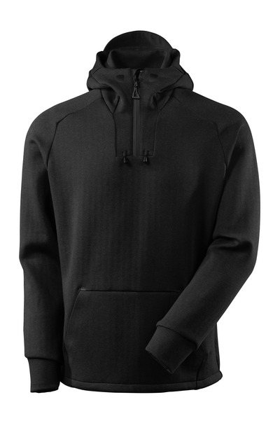 MASCOT® ADVANCED - black-flecked/black - Hoodie with half zip, modern fit