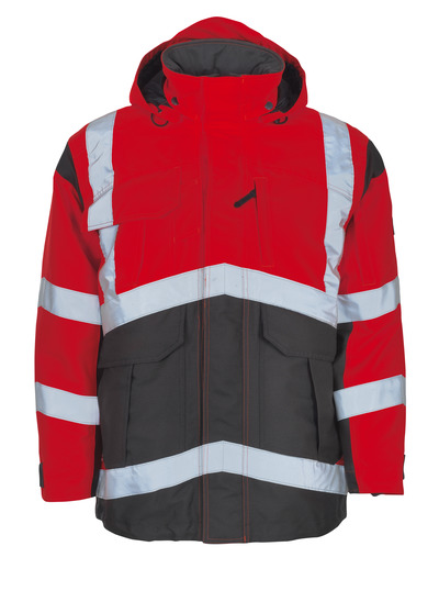 MASCOT® Afife - hi-vis red/dark anthracite - Parka with detachable quilted lining, waterproof MASCOTEX®, class 2