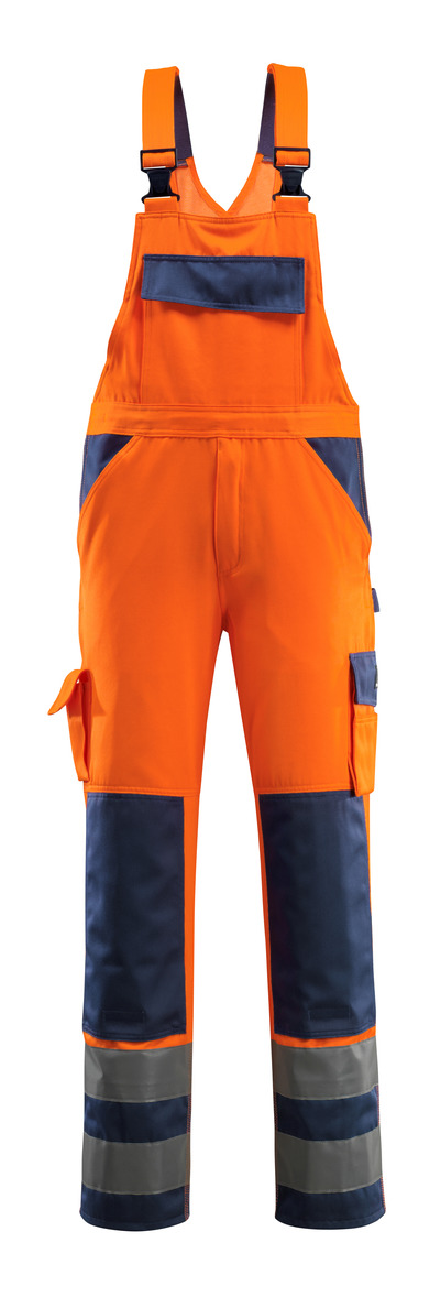 MASCOT® Barras - hi-vis orange/navy - Bib & Brace with kneepad pockets, class 2