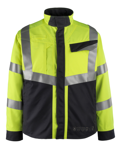 MASCOT® Biel - hi-vis yellow/dark navy - Jacket, multi-protective, class 2