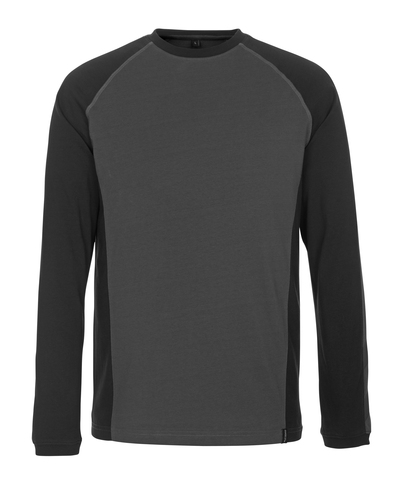 MASCOT® Bielefeld - dark anthracite/black - T-shirt, long-sleeved