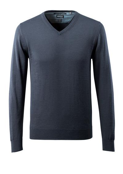 MASCOT® CROSSOVER - dark navy - Knitted Jumper v-neck, with merino wool.