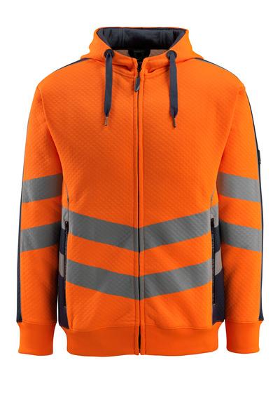 MASCOT® Corby - hi-vis orange/dark navy - Hoodie, waffled texture, modern fit