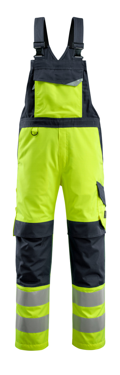MASCOT® Davos - hi-vis yellow/dark navy - Bib & Brace with kneepad pockets, multi-protective, class 2