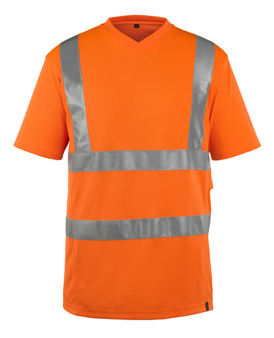 MASCOT® Espinosa - hi-vis orange - T-shirt, V-neck, modern fit, class 2