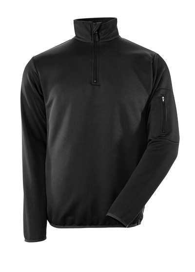 MASCOT® Estela - black/dark anthracite - Polo Sweatshirt with zipper, modern fit, moisture wicking