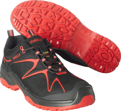 MASCOT® FOOTWEAR FLEX - black/red - Safety shoe S3 with laces, nylon/suede