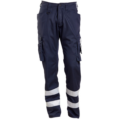 MASCOT® FRONTLINE - dark navy - Trousers with thigh pockets, reflective tape, very lightweight