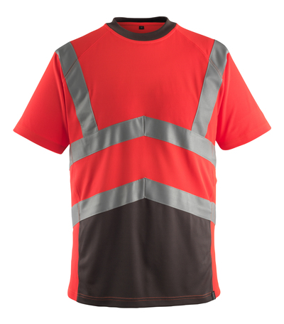 MASCOT® Gandra - hi-vis red/dark anthracite* - T-shirt, modern fit, class 2