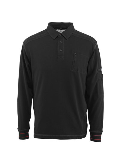 MASCOT® Ios - black - Polo Sweatshirt with chest pocket, modern fit