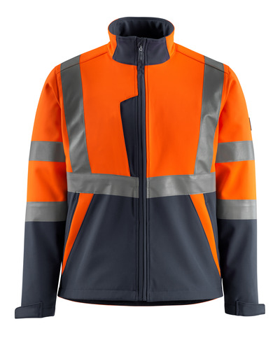 MASCOT® Kiama - hi-vis orange/dark navy - Softshell Jacket with fleece on inner side, class 2
