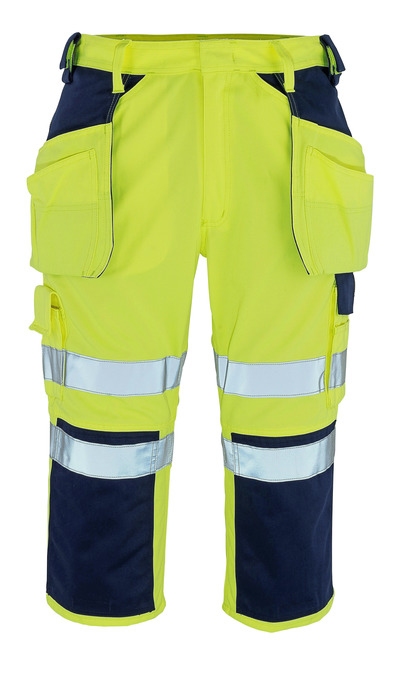 MASCOT® Lagarto - hi-vis yellow/navy* - ¾ Length Trousers with kneepad pockets and holster pockets