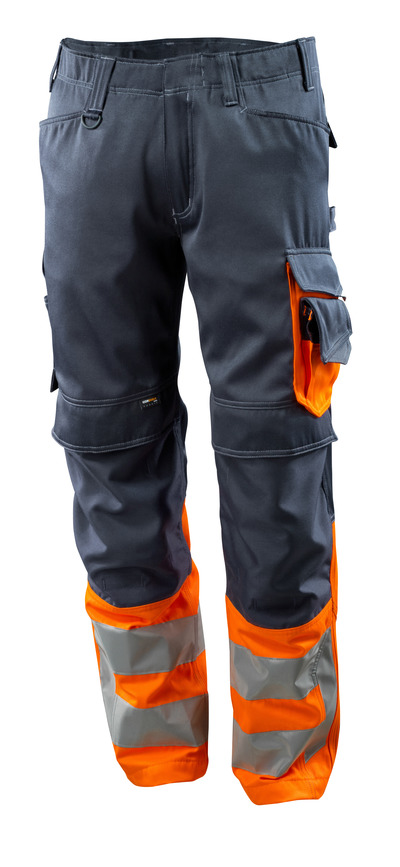 MASCOT® Leeds - dark navy/hi-vis orange - Trousers with CORDURA® kneepad pockets, class 1