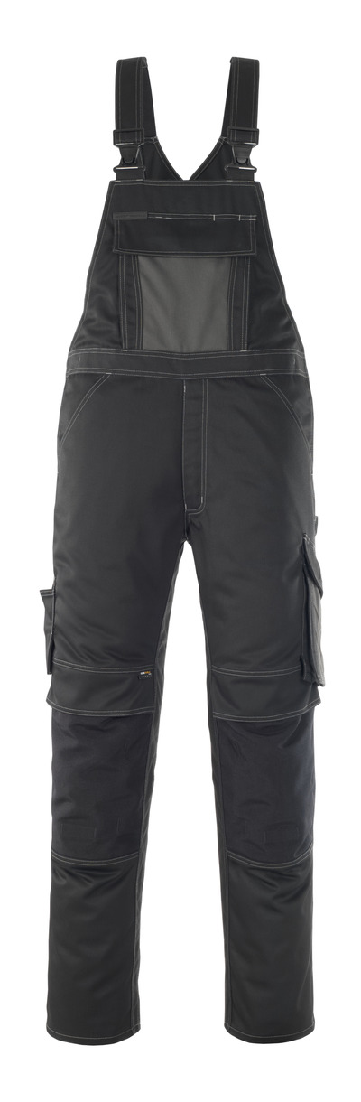 MASCOT® Leipzig - black/dark anthracite - Bib & Brace with kneepad pockets, high durability