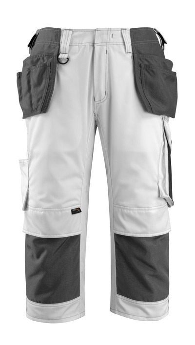 MASCOT® Lindau - white/dark anthracite - ¾ Length Trousers with CORDURA® kneepad pockets and holster pockets, high durability