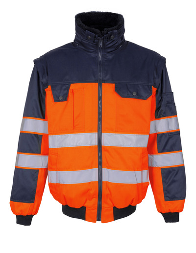 MASCOT® Livigno - hi-vis orange/navy - Pilot Jacket with detachable pile lining, water-repellent, class 2