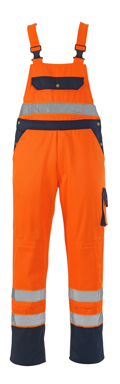 MASCOT® Milano - hi-vis orange/navy - Bib & Brace with kneepad pockets, class 2/2