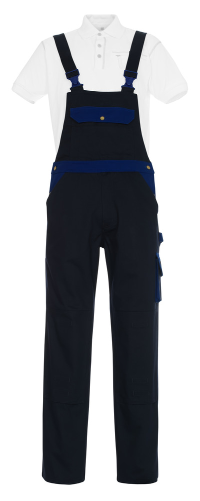 MASCOT® Monza - navy/royal - Bib & Brace with kneepad pockets, cotton