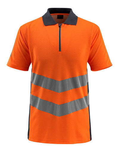MASCOT® Murton - hi-vis orange/dark navy - Polo Shirt with zipper, modern fit, class 2