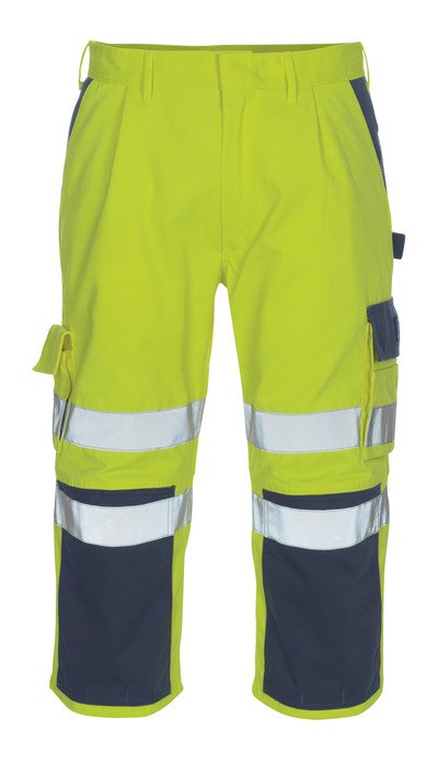 MASCOT® Natal - hi-vis yellow/navy* - ¾ Length Trousers with kneepad pockets