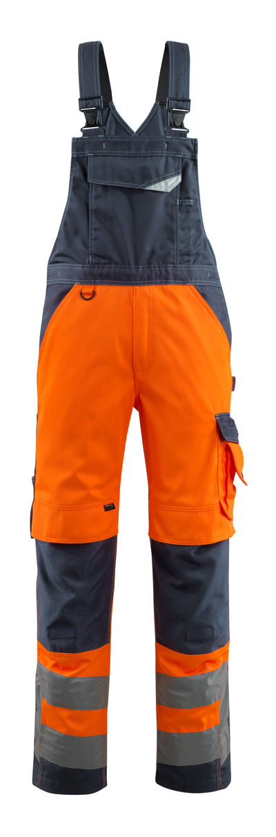 MASCOT® Newcastle - hi-vis orange/dark navy - Bib & Brace with kneepad pockets, class 2