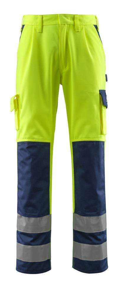 MASCOT® Olinda - hi-vis yellow/navy - Trousers with kneepad pockets, class 2