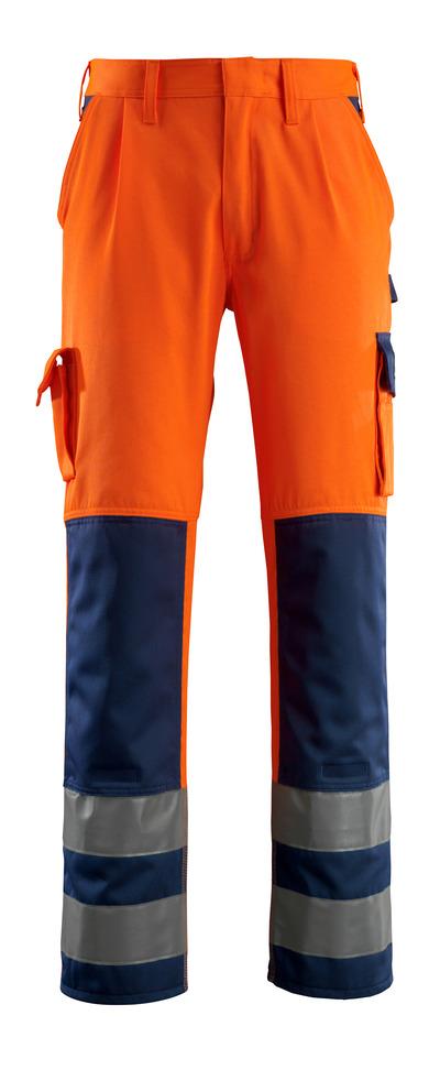 MASCOT® Olinda - hi-vis orange/navy - Trousers with kneepad pockets, class 2