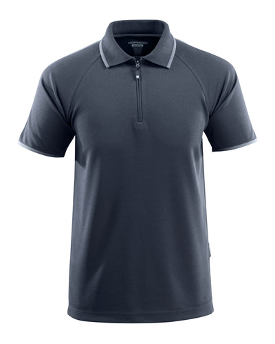 MASCOT® Palamos - dark navy - Polo Shirt with zipper, temperature-regulating TENCEL®