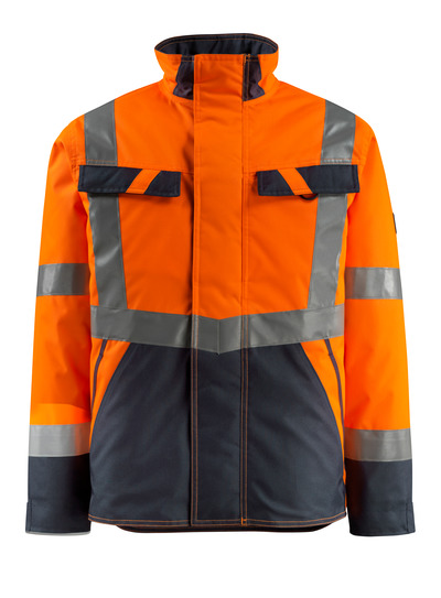 MASCOT® Penrith - hi-vis orange/dark navy - Winter Jacket with quilted lining, water-repellent, class 3