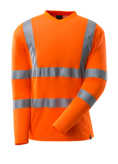 MASCOT® SAFE CLASSIC - hi-vis orange - T-shirt,  V-neck, long-sleeved, class 3