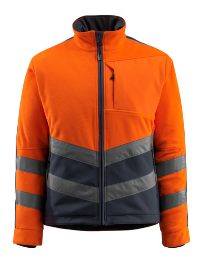 MASCOT® Sheffield - hi-vis orange/dark navy - Fleece Jacket with padded and windproof lining, water-repellent, class 2