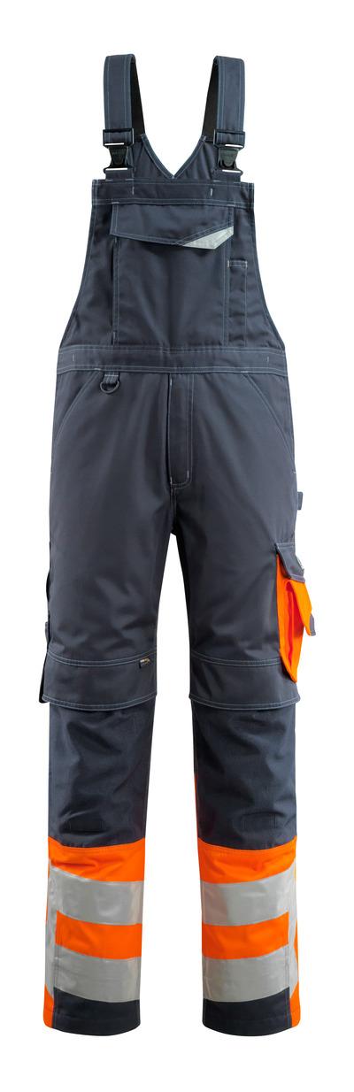 MASCOT® Sunderland - dark navy/hi-vis orange - Bib & Brace with kneepad pockets, class 1