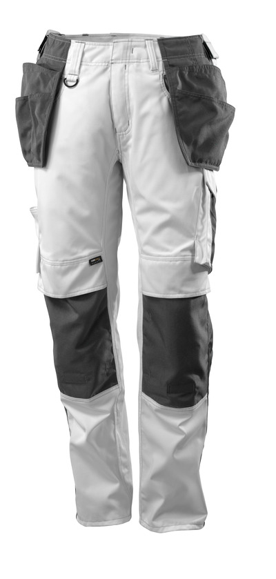 MASCOT® UNIQUE - white/dark anthracite - Trousers with CORDURA® kneepad pockets and holster pockets, lightweight