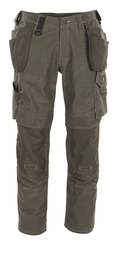 MASCOT® Velho - dark olive with print* - Craftsmen's Trousers