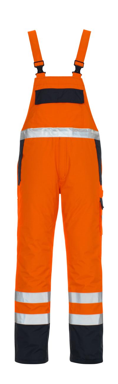MASCOT® Zug - hi-vis orange/navy* - Bib & Brace with lining, multi-protective, waterproof, class 2/2